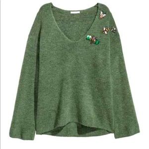 H and M Green Sweater with Jeweled Bug Appliqués